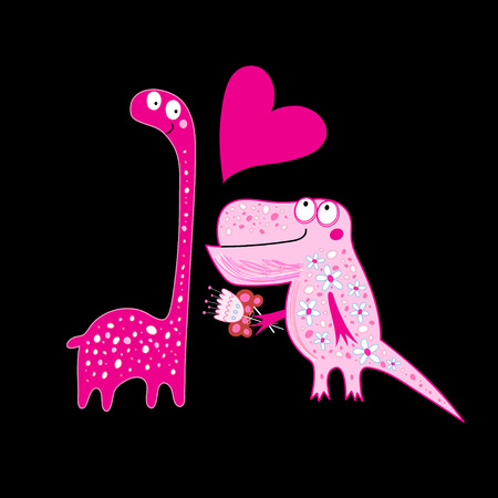 Funny greeting card with enamored dinosaurs on a dark background