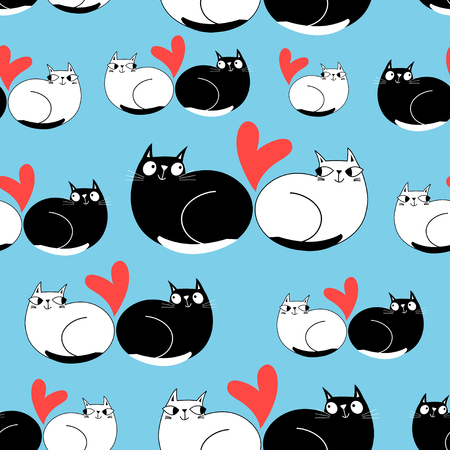 Seamless funny pattern of enamored cats on a blue background Ilustração