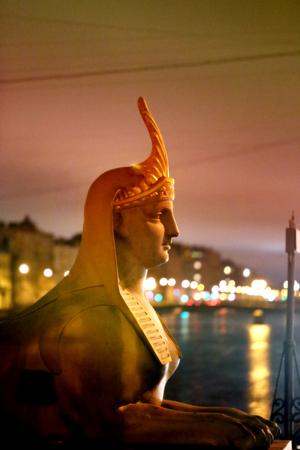 Photo fragment of the statue sphinx Egyptian Bridge in St. Petersburg