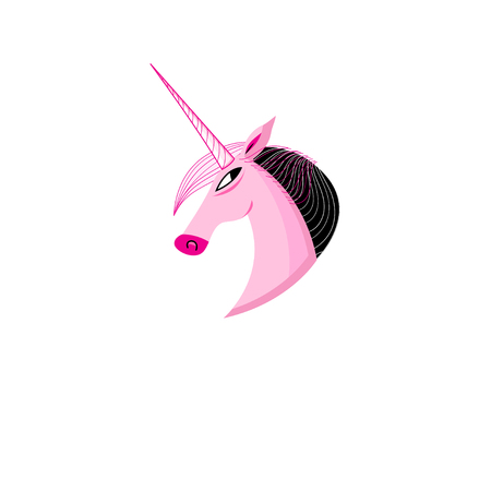 A Vector icon of a pink unicorn head on a white background