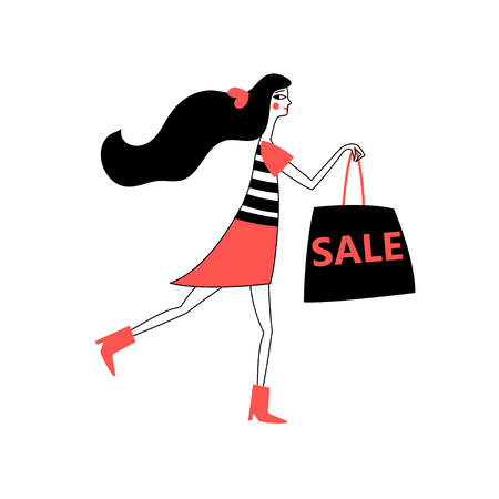 Advertising illustration of a girl running for a sale vector illustration.