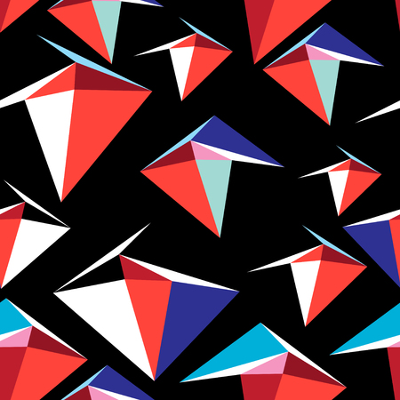 Abstract vector multicolored pattern of geometric elements on a black background.
