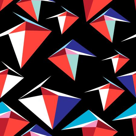 Abstract vector veelkleurig patroon van geometrische elementen op een zwarte achtergrond.