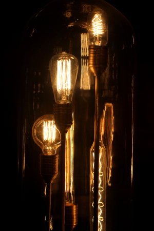 Photo of a macro of bright unusual fixtures in a cafe