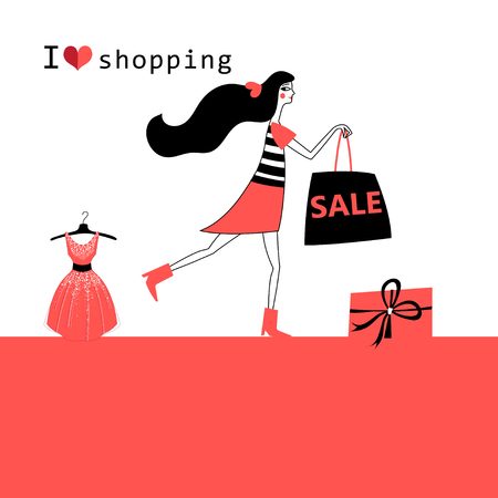 Vector advertising illustration of a girl running for a sale