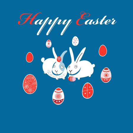 Greeting Easter card with eggs and rabbits Illustration