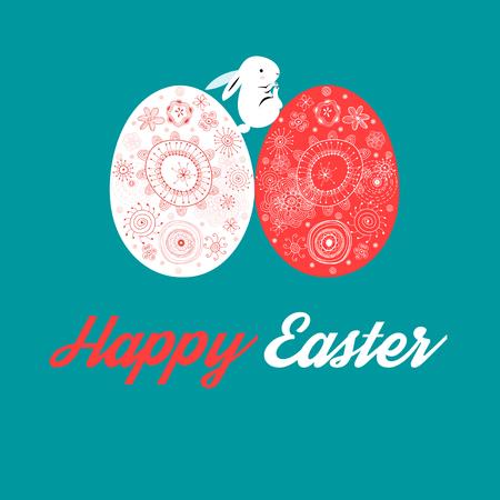 Grußkarte Ostern mit Eiern und Kaninchen