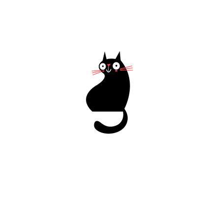 Vector sign of a black cat on a white background