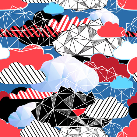 Seamless bright pattern from different clouds on a blue background Reklamní fotografie - 95590591