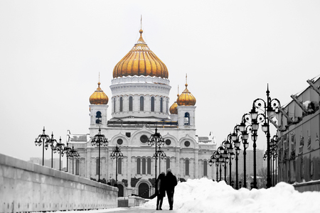 Photo of a beautiful landscape with the Cathedral of Christ the Savior in Moscow 版權商用圖片