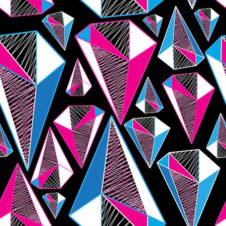 Seamless geometric pattern from three-dimensional triangular figures Illustration