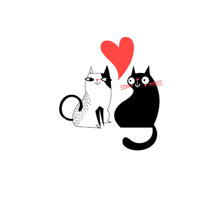 Graphics of enamored cats on a white background Vector illustration. Çizim