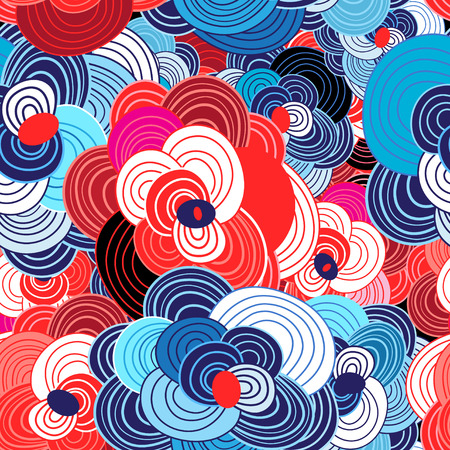 Natural bright seamless pattern from different graphic florets. Illustration