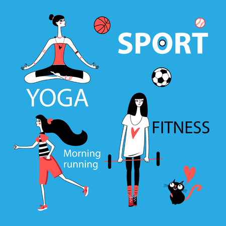 Vector set of girl and sport on blue background