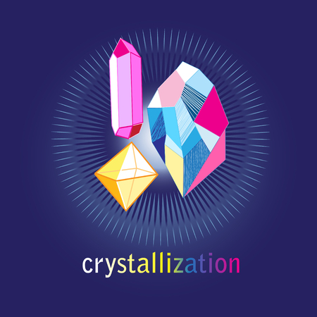 Differently colored crystals on a dark blue background vector illustration.
