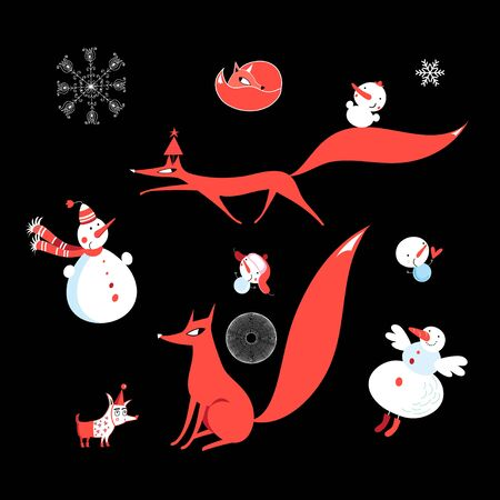 Vector set of red foxes and funny snowmen on a white background Illusztráció