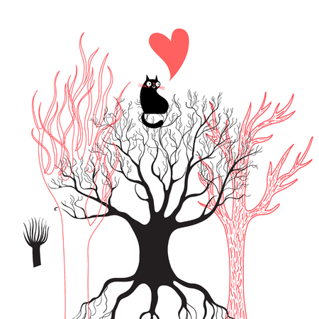Vector illustration of a black enamored cat on a tree