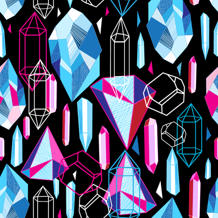 Beautiful seamless pattern with colorful crystals Ilustração