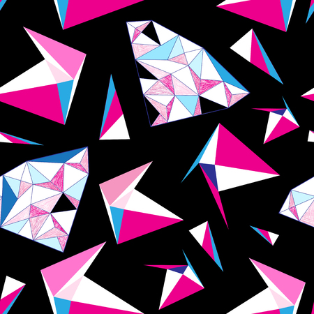 Seamless bright geometric pattern of triangles on a dark background