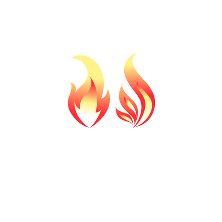 Fire flame icon vector template. Hot red orange fire flame for caution hot or spicy food and logo for oil, gas and energy concept. Vector flat symbol design  Çizim