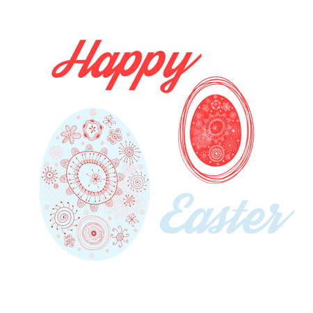 Vector Easter card with eggs on white background