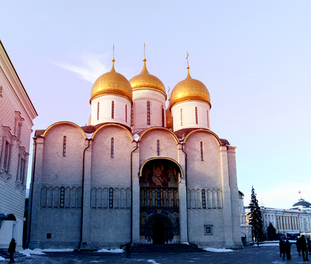 Photo of the Assumption Cathedral in the Moscow Kremlin on a sunny day Stock Photo