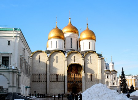 Photo of the Assumption Cathedral in the Moscow Kremlin on a sunny day Фото со стока