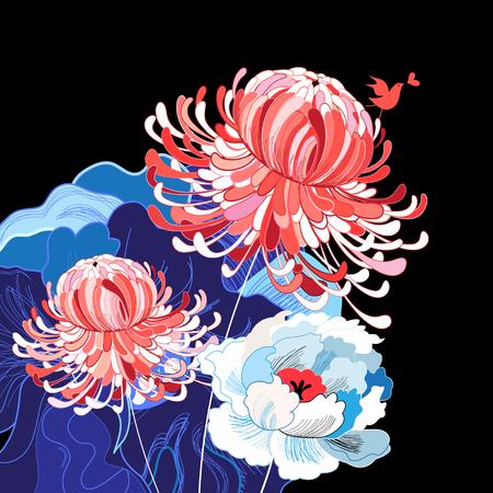 De kleurrijke traditionele illustratie van het bloembeeld