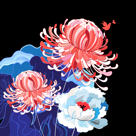 Colorful traditional flower image illustration