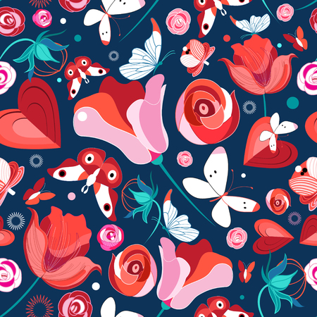 Seamless bright pattern with flowers and butterflies on a dark background