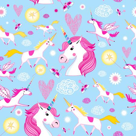 Seamless funny pattern from unicorns on a light blue background Stock Illustratie