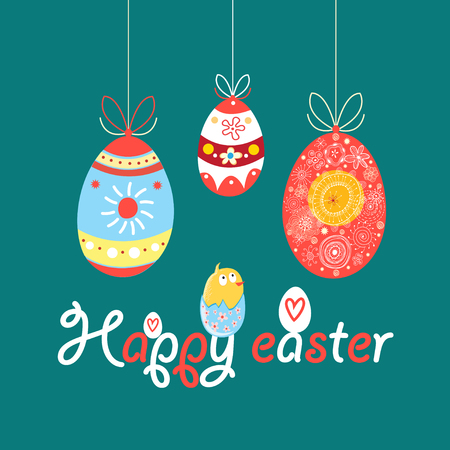 Bright greeting happy Easter card with eggs and chicken