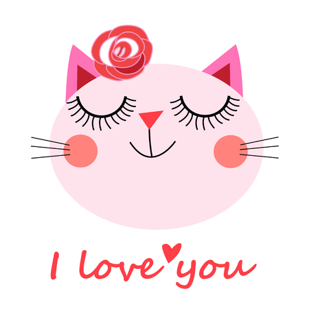 Cute cat vector for t-shirt Print love cards.Valentines Day animal print. 向量圖像