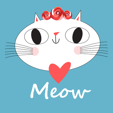 Cute cat vector for t-shirt Print love cards.Valentines Day animal print. Çizim