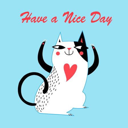 Cute cat vector, Cute cat festive greeting card, Covers design.