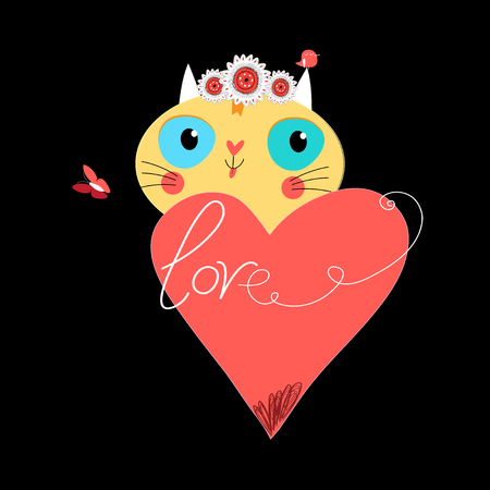 Cute cat with heart on black background vector.