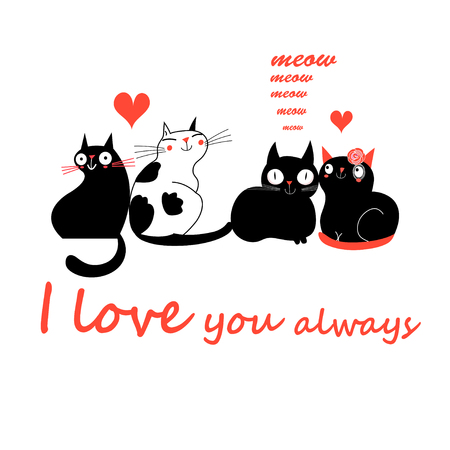 Illustration of black and white cats with red I love you always text and hearts