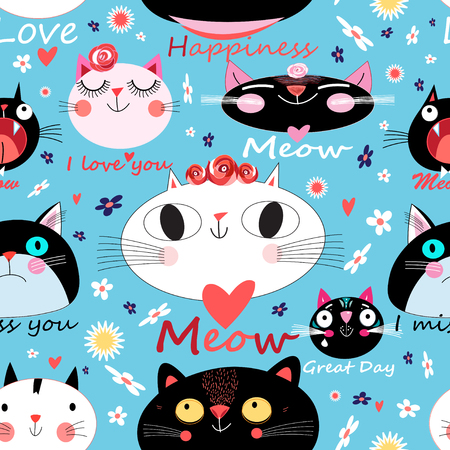 Vector seamless floral pattern of enamored cats Stock Illustratie
