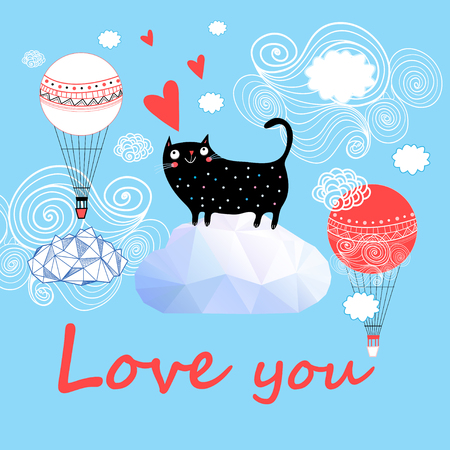 Cute cat vector. T-shirt print. Love cards. Valentines Day. Animal print. Children illustration for school books and much more.