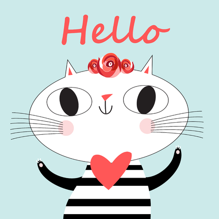 Cute cat vector.T-shirt Print.Love cards.Valentines Day.animal print.Children illustration for school books and much more.