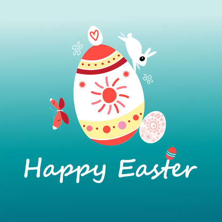 Vector Easter card with a rabbit and eggs on a dark background