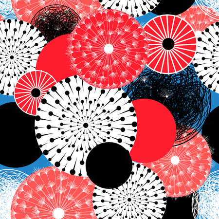 Vector abstract seamless pattern of round unusual elements