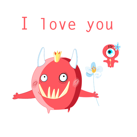 Greeting card with cheerful in love monsters on a white background
