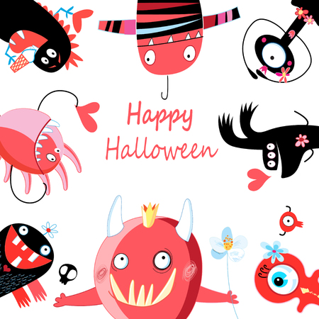 Greeting card of cheerful enamored monsters to Halloween