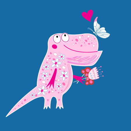 Bright postcard with a funny enamored dinosaur and butterfly on a blue background Illustration