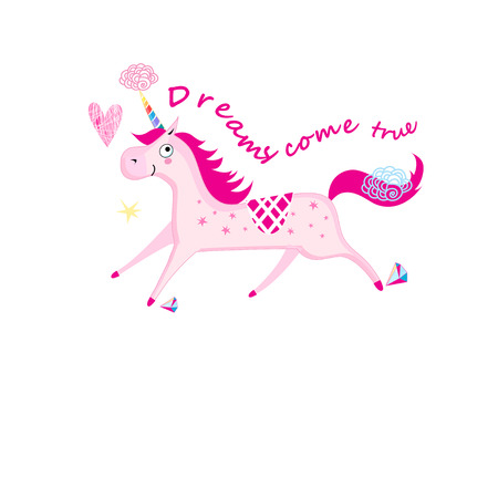Vector illustration of a unicorn isolated on white background Иллюстрация