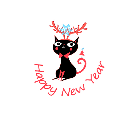 Vector New Year greeting card with funny cat Illustration
