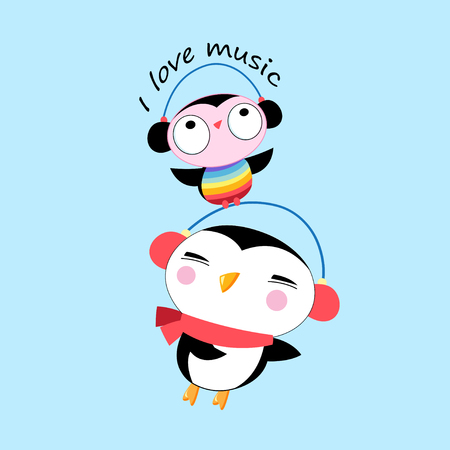 Vector cartoon cheerful penguin and owl listening to music Illustration