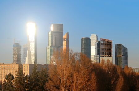 Photo landscape of Moscow City at sunset