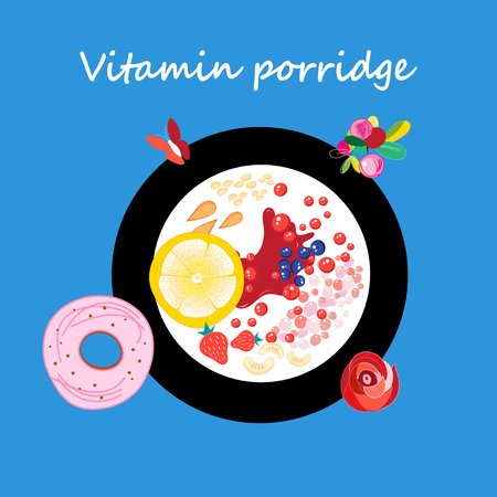 A Vector illustration of a plate of useful porridge and berries. Template for advertising or restaurant or cafe menu.